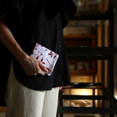 Japanese towel, NANDINA / drak red